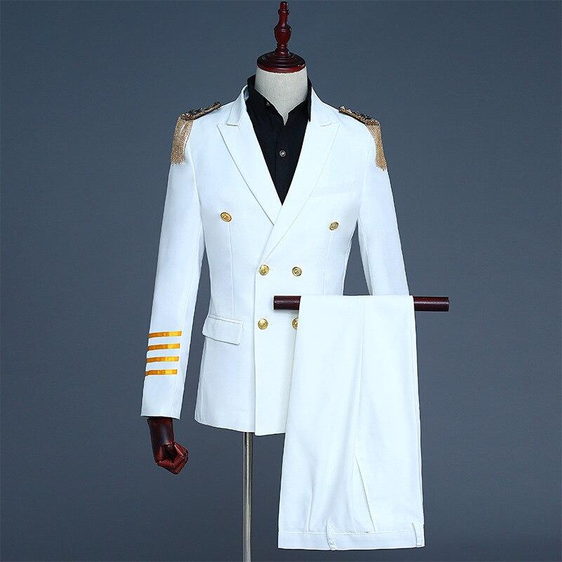 Costume de capitaine pour hommes costume à double boutonnage fête gland épaule vêtements de travail hommes costumes militaires réguliers blanc noir Blazers