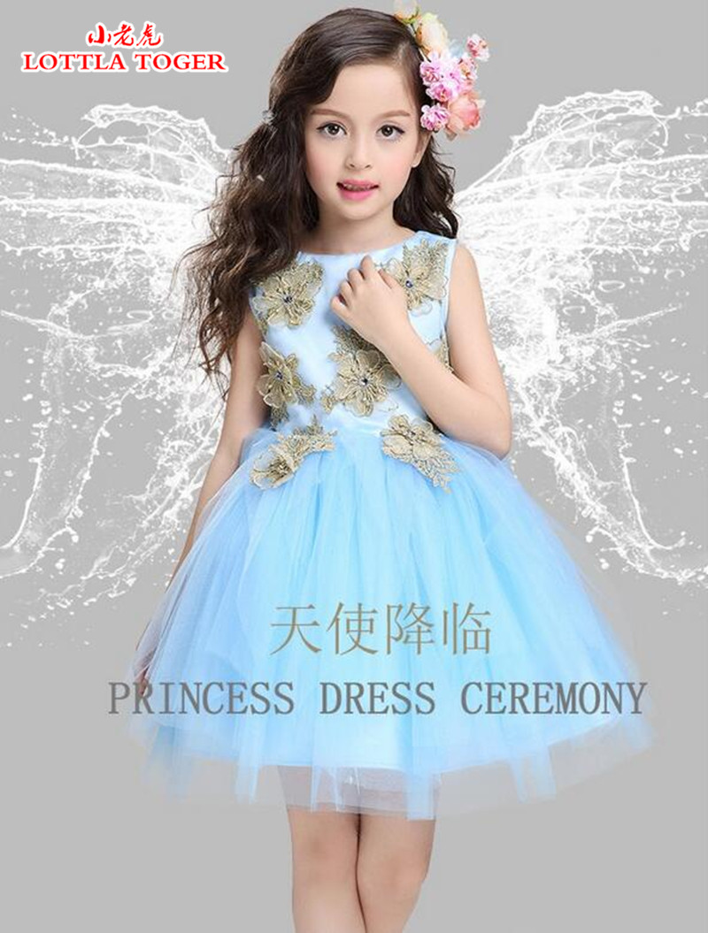 Online get cheap girls bridesmaid dresses blue aliexpress kids lace princess girl communion dress dimensional flowers girl sleeveless bridesmaid wedding party birthday sky blue ombrellifo Images