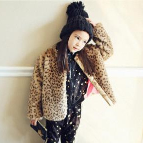 Furry Autumn Winter Baby Girls Leopard Print Overcoats Warm Jacket Children Kids Fake Fur Coats Faux Fur Overwear Clothes F228