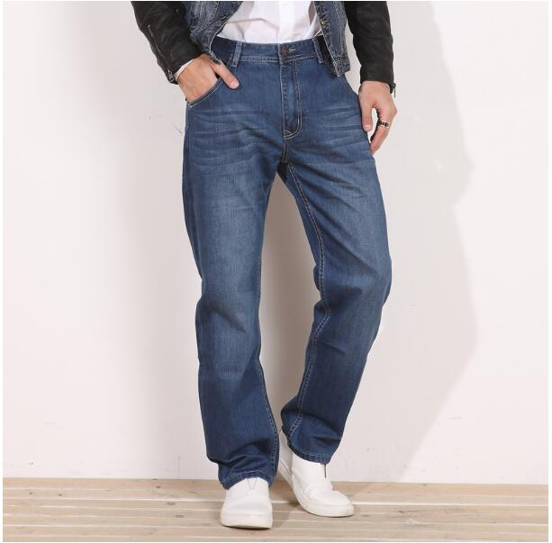 Casual loose straight jeans pants autumn  Winter 100% cotton plus size  breathable denim trousers male trousers thick style free shipping autumn and winter male straight plus size trousers loose thick pants extra large men s jeans for weight 160kg