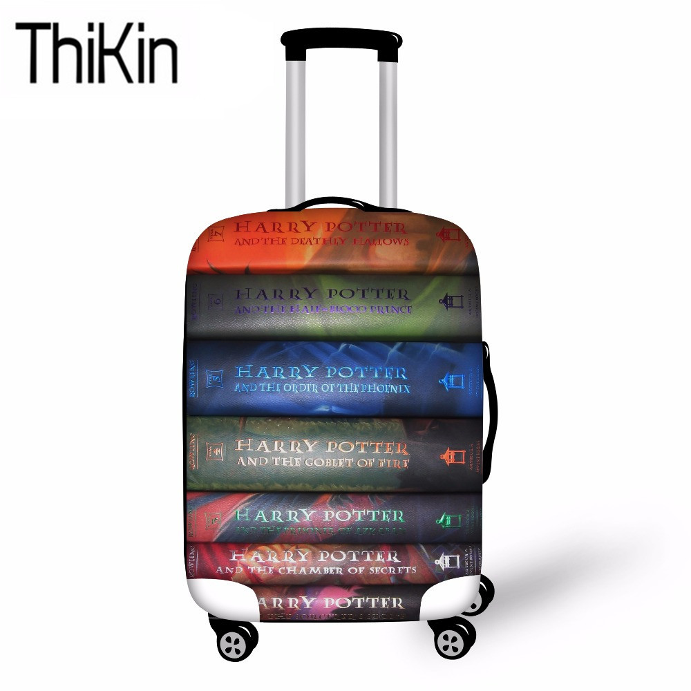 THIKIN Books Printing Luggage Covers For Suitcase Funny Design Travel Baggage Cover Dustproof Luggage Protective Bag 18-30 Inch