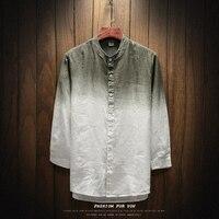 Designer Gradient 55.1% Linen 44.9% Cotton Stand Collar Shirt For Men Button Down Male Shirt Camisa Masculina Tunic Collar Shirt