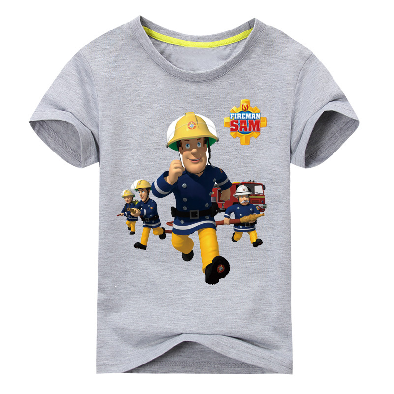 2018 Children 3D Cartoon Fireman Sam Print Cotton T-shirts For Boy Shirt Girl Short Sleeve Tee Tops Clothes Kids Clothing TP016 2018 new 3d cartoon fireman sam print tee tops for boy girl summer short sleeve t shirt children cotton clothes kid tshirt tx041