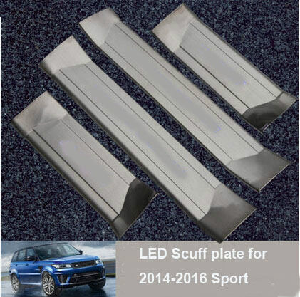 4pcs/set Stainless steel LED Door Sill Scuff Plate Trim For Land Rover Range Rover Sport 2014 2015 2016 Car accessories styling for land rover range rover sport freelander 2 discovery 4 2006 2014 car styling led fog lights lamp crystal blue blue 12v