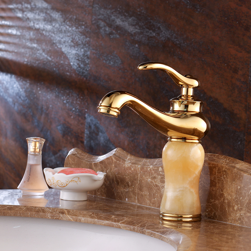 Or jade ware salle de bains robinet mitigeur monotrou évier bassin robinet froid eau chaude mélangeur salle de bains accessoires