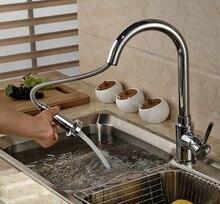 Современные Вытащить Двойной Сопла Распылителя Кухонный Кран Палуба Гора Горячая Холодная Вода Кухня Смеситель Хромированная Отделка