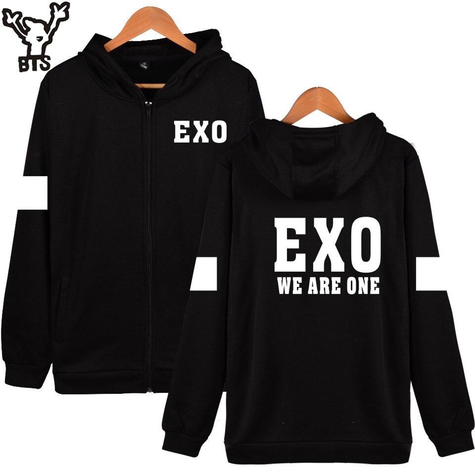 BTS Korean Team EXO Hooded Sweatshirt Women Cotton Popular Idol Casual Coat Fashion Women Hoodies Zipper Funny Streetwear