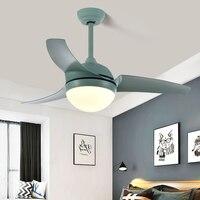 LED Ceiling Fan Light Macaron Simple Living Room Dining Room Home Fan Light American Retro Bedroom Ceiling Fan Light