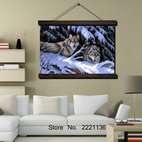 Timber Wolf Wallpaper Scroll Painting Modern Home Framed Hanging Wall Decoration Artworks In High Definition Print