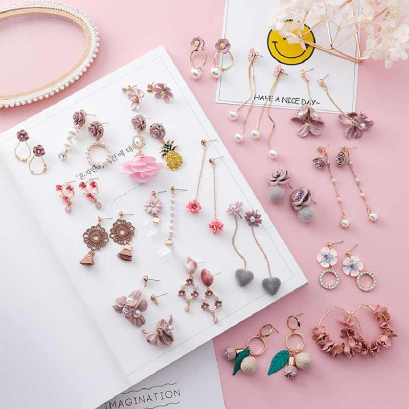 2019 Korea Cute Pink Heart Shape Flower Fabric Long Pendant Earrings Sweet Pearl Simple Female Earrings Jewelry Accessories Gift
