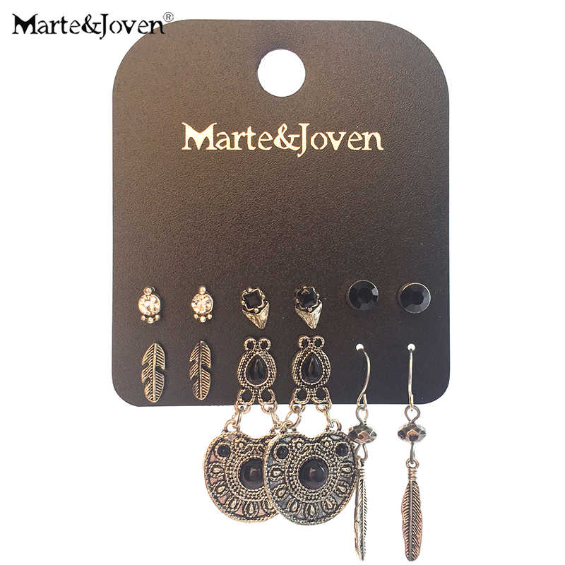 Marte&Joven Retro Antique Silver Water Drop/Leaf Drop Earrings Set for Women 6 Pairs/set Classic Round Earring Jewelry as gifts