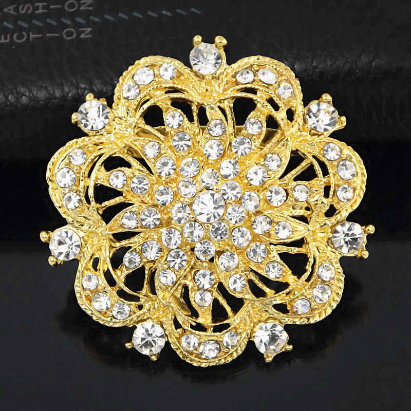 Vendita al dettaglio Libera La Nave Spille g Vintage Trasparente Diamante Del Fiore Delle Donne Vestiti Spilli Spille Elegante Da Sposa Bouquet Da Sposa Spiedi Spille