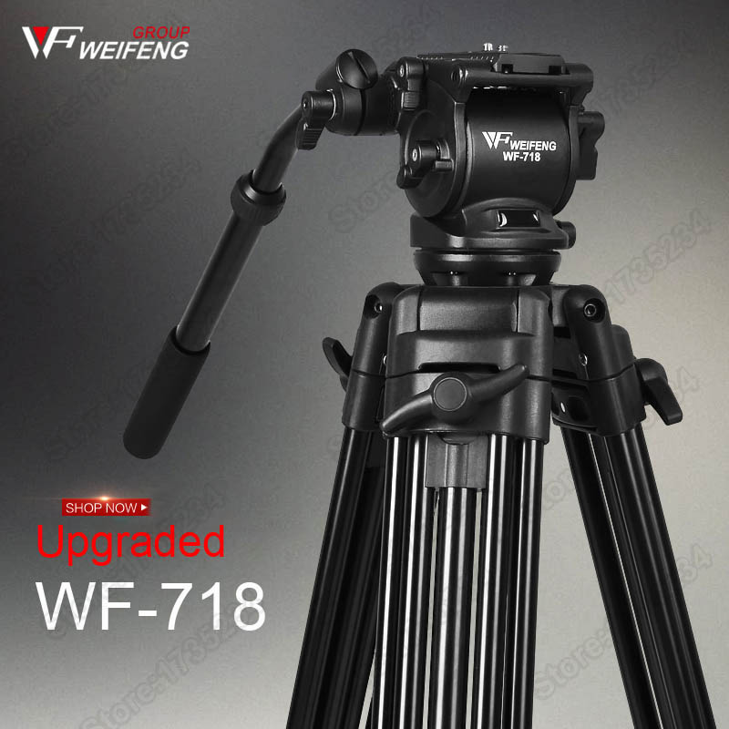 цены New WF718 Professional Video Tripod DSLR Camera Heavy Duty Tripod with Fluid Pan Head for Canon Sony Camera Camcorder DV
