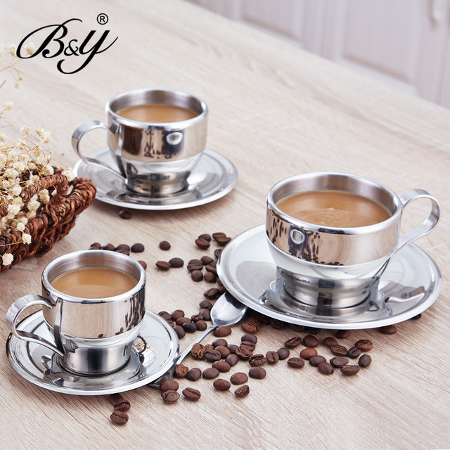 By European Style Stainless Steel Milk Cup Coffee Breakfast Irish Nestle And Saucer