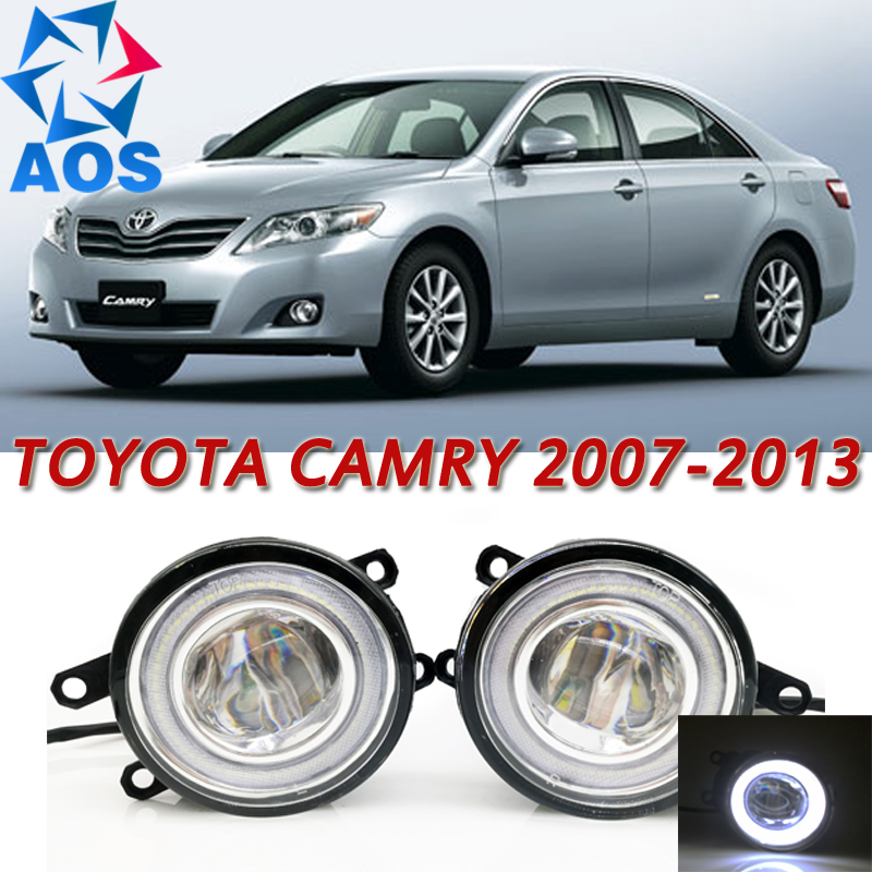 For Toyota Camry 2007-2013 Car Styling LED Angel eyes DRL LED Fog light Car Daytime Running Fog Light set special car trunk mats for toyota all models corolla camry rav4 auris prius yalis avensis 2014 accessories car styling auto