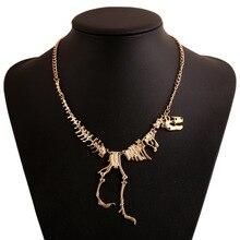 Goth Alloy Dinosaur Skeleton Dead Tyrannosaurus T-Rex Charm Necklace Choker Necklace For Women Jewelry Collar