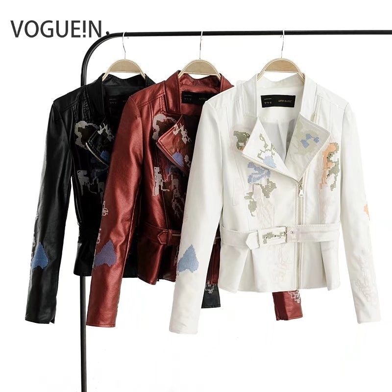 VOGUEIN New Womens Cross Embroidery Floral Faux   Leather   Jackets Motorcycle Coat Biker Short Outerwear Size SML Wholesale