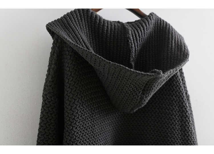 [EAM] 2019 новый весенний модный Свободный длинный рукав с капюшоном сплит-соединение карман вязаный кардиган Повседневный свитер женский BL814
