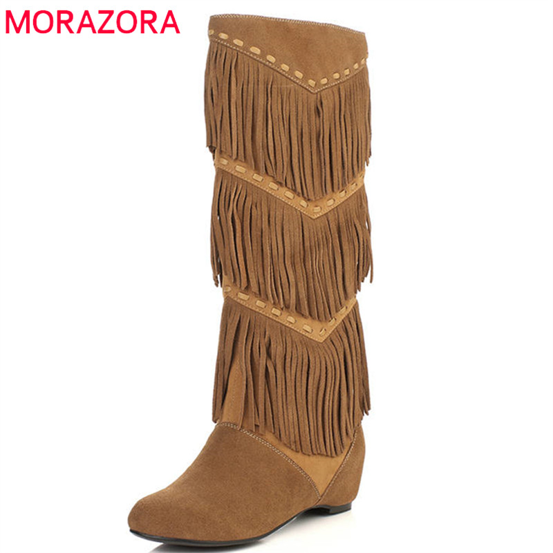 MORAZORA 2018 top quality suede leather knee high boots women round toe autumn winter boots slip on fashion shoes woman black round toe suede slip on plimsolls