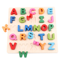 English Alphabet Three dimensional Baby Puzzle Wooden Board Children 2 4 Years Old Early Education Toy Building Blocks