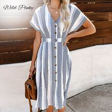 WildPinky 2019 Women Fashion Batwing Sleeve Striped Dresses Female Button Casual Evening Party Dress Ladies Loose Summer