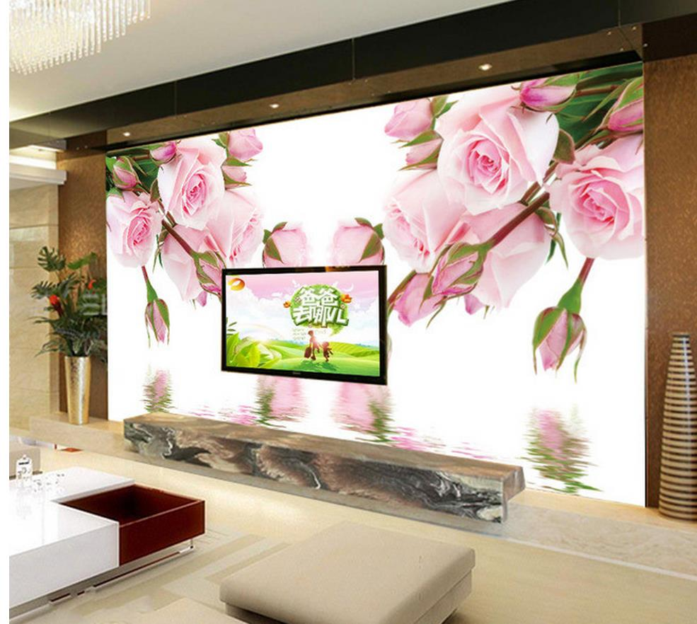 3d wallpaper for room Reflection in the water rose wallpaper murals TV backdrop mural 3d wallpaper
