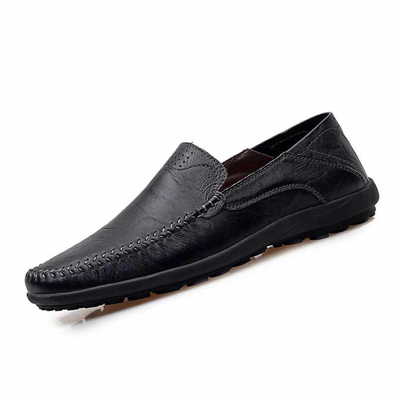 Mannen Mode Lederen Loafers Mocassins Plus Big Size 38-47 Nieuwe Coming Man Slip-on Schoenen Zwart/ bruin