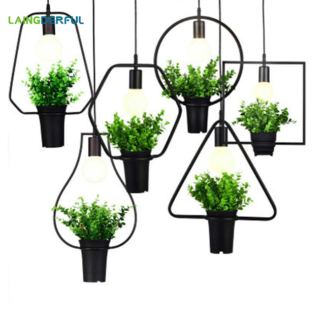 Modern Plant Pendant Lights Creative Metal Hanglamp Decorative Home LED Lighting Fixture for Bar Kitchen Restaurants Dinner Room