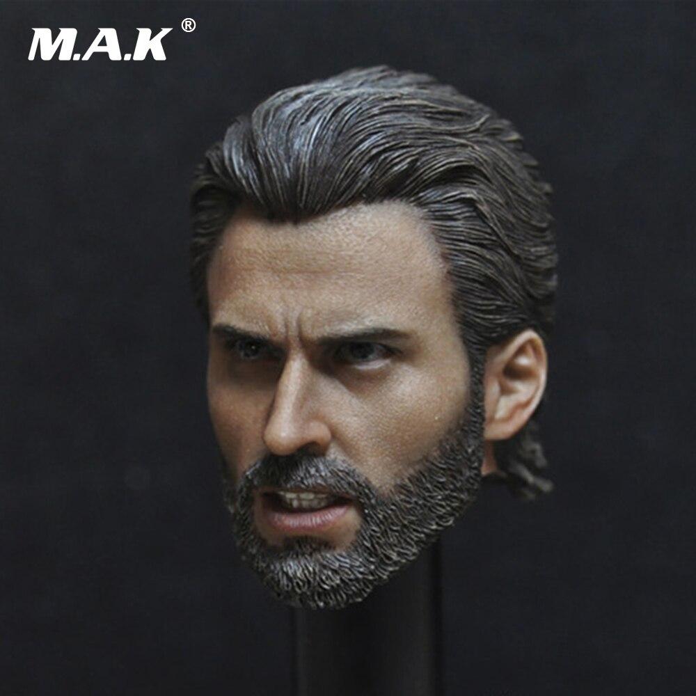 1/6 capitaine America Steve Rogers Chris Evans tête sculpter avec barbe sculpture ActionFigure accessoires pour 12 pouces Figure corps