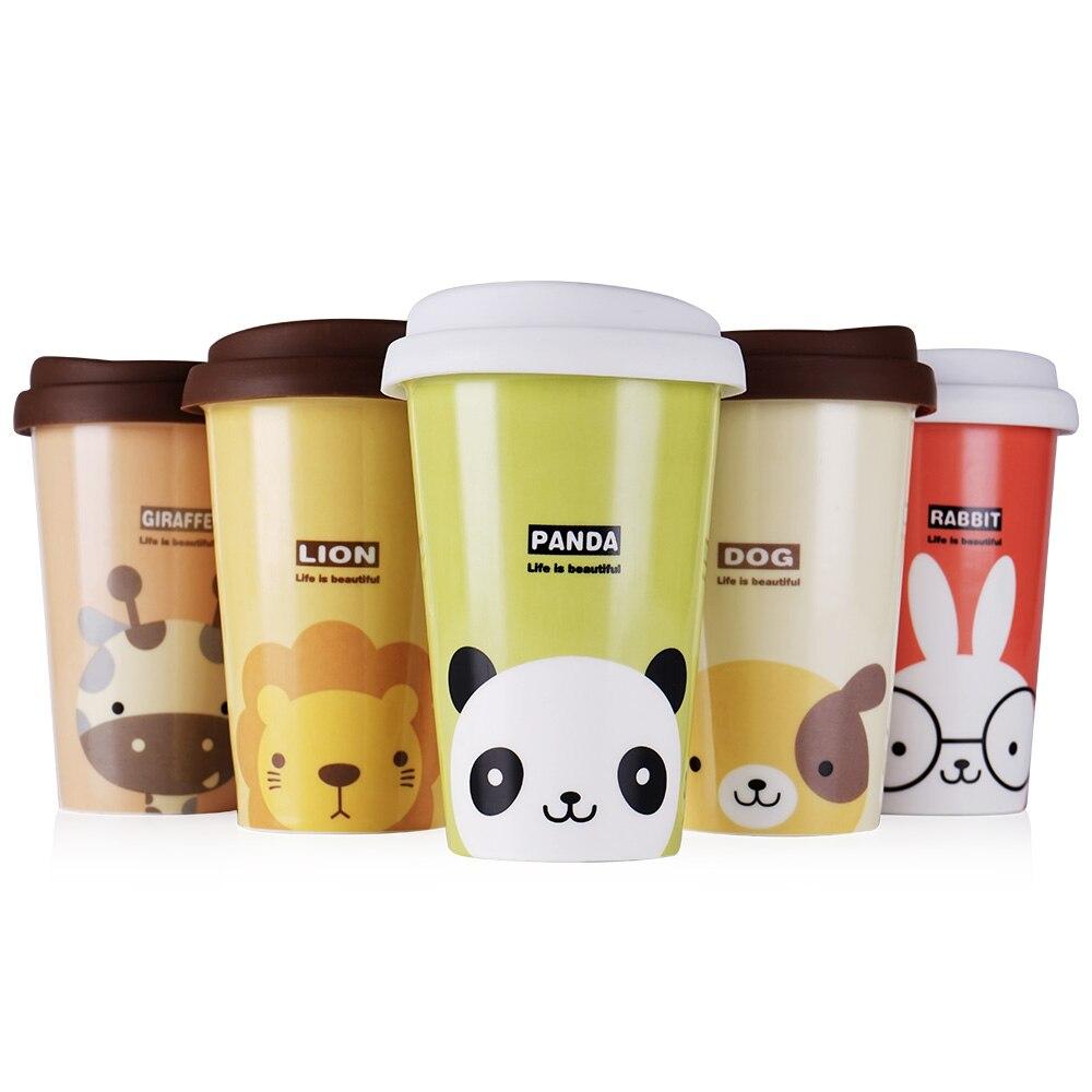 UPSTYLE Cute Coffee Mug Animal Pattern Ceramic Cup Travel Coffee Mug with Silicone Lid for Tea