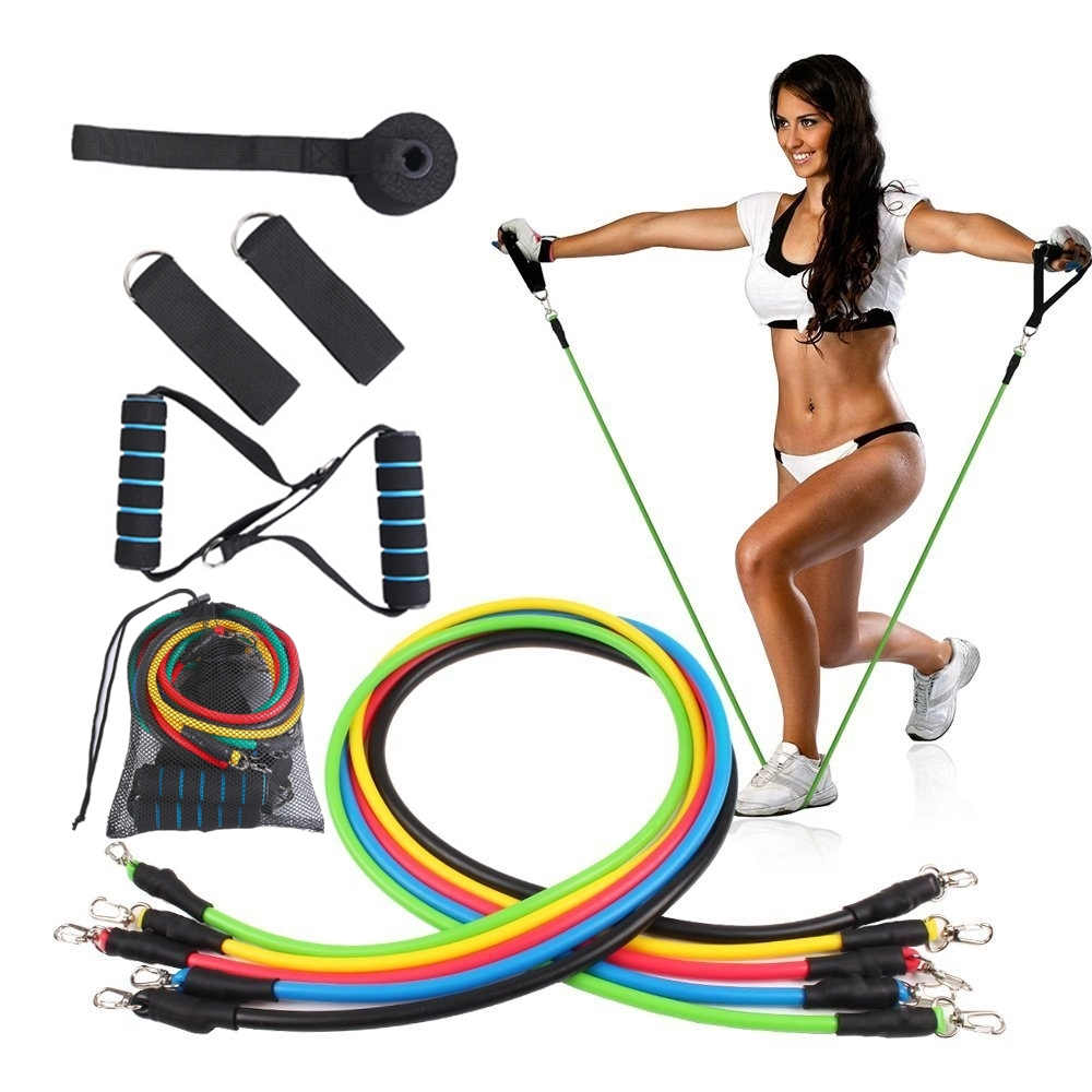 11 PCS/SET 1.2m Resistance Bands Fitness Exercise TPE Band Pull Rope Workout Exercise With Door Anchor/Handle/Ankle Straps/Bag