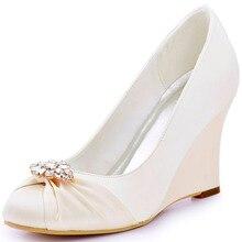 ElegantPark EP2005ALผู้หญิงเวดจ์ไอวอรี่ปิดนิ้วเท้าส้นสะดวกสบายจัดงานแต่งงานเจ้าสาวปั๊ม