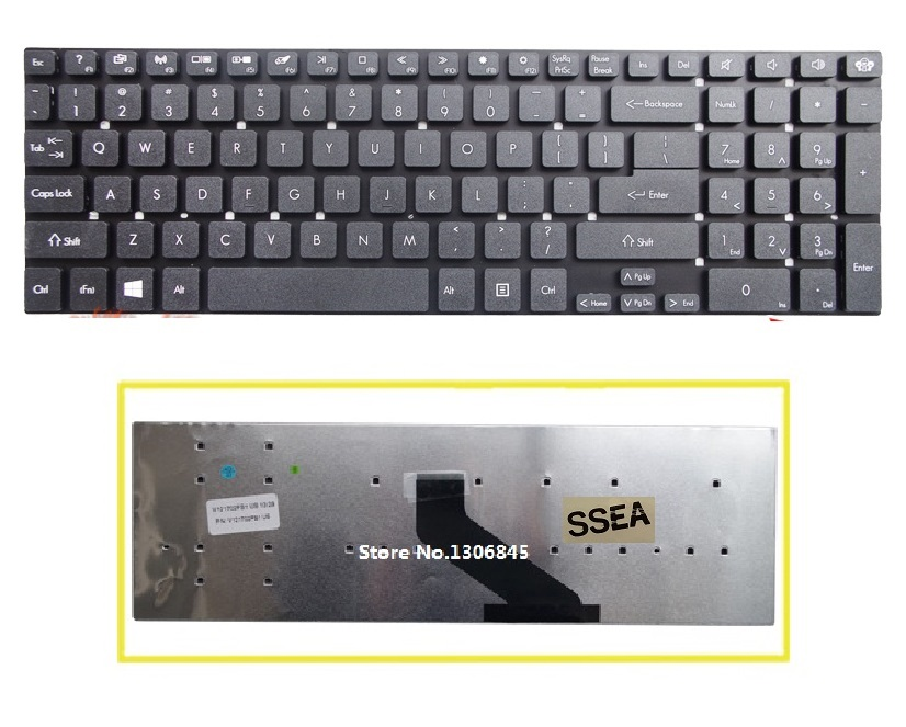 SSEA New US Keyboard For Gateway NV52L NV55S NV75S NV77H NV56R NV57H Black Keyboard