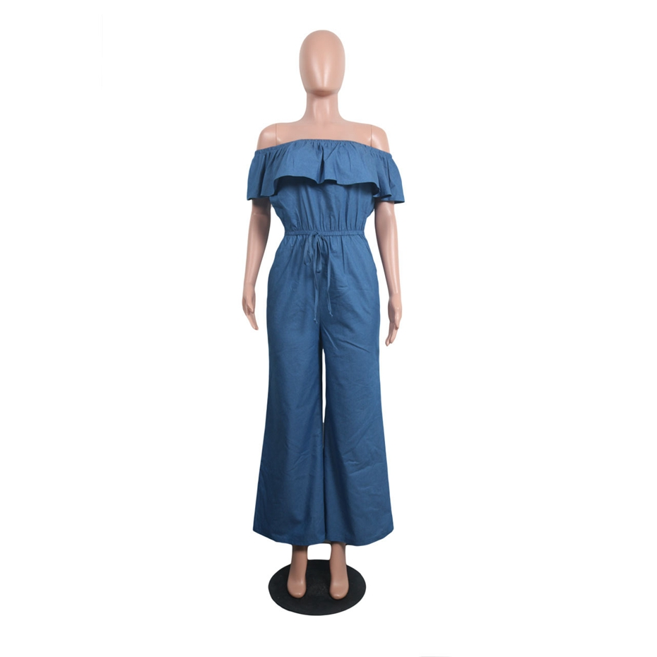 2bf795c60c2 HAOYUAN Sexy Denim Jumpsuit 2018 Streetwear Off Shoulder Jean Overalls One  Piece Backless Casual Loose Rompers Womens Jumpsuit-in Jumpsuits from  Women s ...