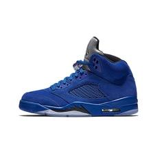 3350b7300e16 Jordan Retro 5 Blue Suede PSG bred Men Basketball Shoes Metallic Silver Sports  International Flight Sneakers