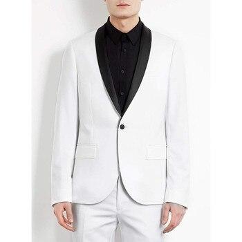 Suit White Groom Tuxedos Shawl Lapel One Button Best Men Best Men Wedding Suit Prom Dresses( jacket+Pants+tie)