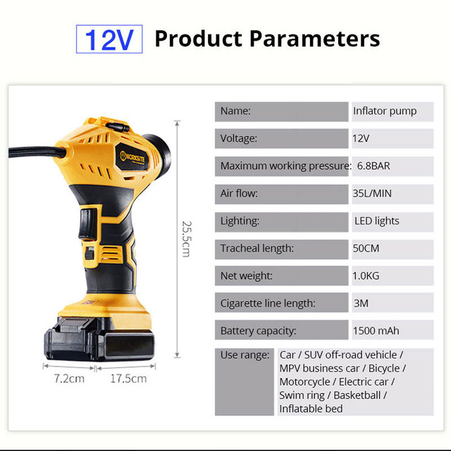 New Cordless Inflator Digital Display Car Air Compressor Tire Inflatable Pump For Auto Emergency Rechargeable Wireless Pump 1