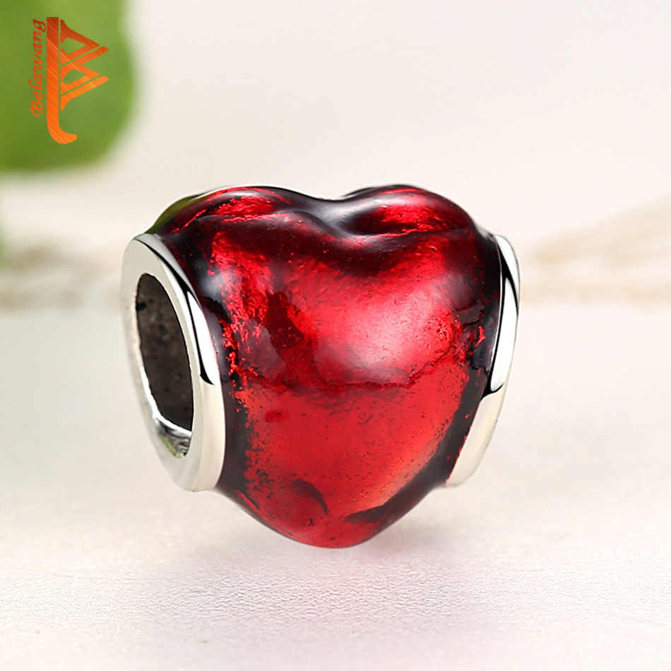 BELAWANG สีแดงเงินหัวใจ Charms ลูกปัดพอดีสร้อยข้อมือเดิม Charms เงิน 925 เครื่องประดับ DIY berloque