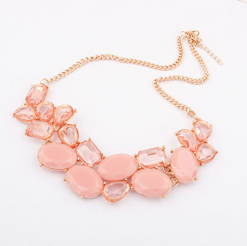 New Summer Fashion Necklace Geometric Cute Charm Gem Flower Short Necklace for Women Chorker Necklace Pendant