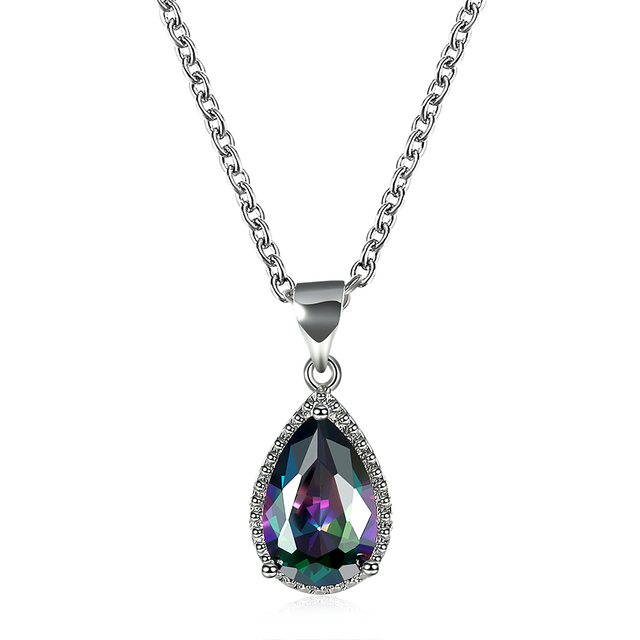 aaae18d0b water drop crystal pendant necklace for women engagement gift silver color  rainbow stone colorful fashion jewelry drop shipping