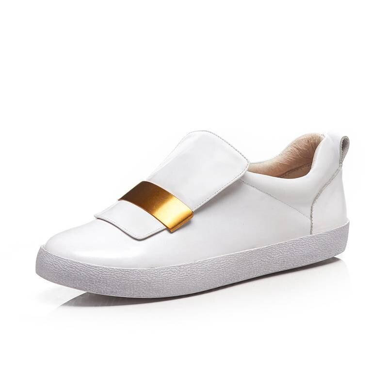 Zapatillas de deporte de decoración de metal de diseño conciso de maceta de cuero genuino cómodos mocasines de uso diario zapatos vulcanizados L66-in Zapatos vulcanizados de mujer from zapatos    3