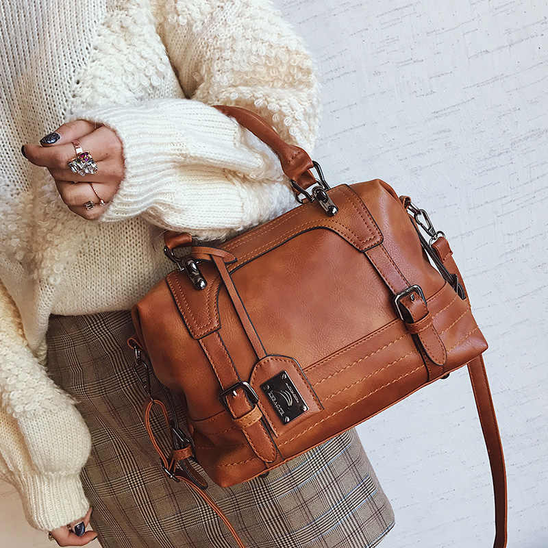 Mulheres de luxo Bolsa De Couro Marrom Retro Do Vintage Saco de Bolsas de Grife de Alta Qualidade Famosa Marca Tote Ombro Saco de Mão Das Senhoras
