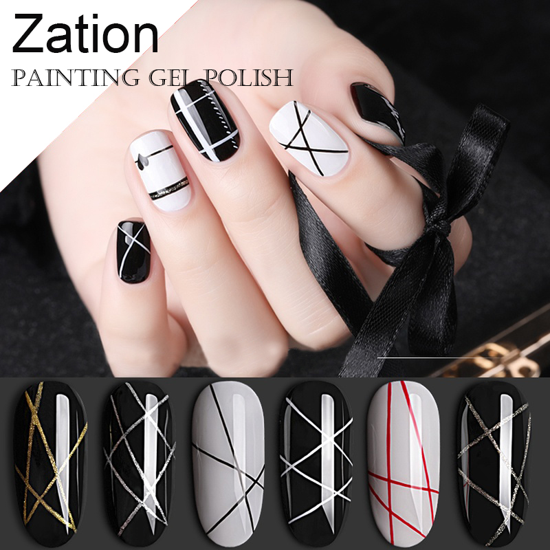Zation 5g Gel Nail Painting Creative Nail Art UV Gel Wire Drawing Soak Off Gel Varnish Spider Web Nail Art Manicure DIY Design