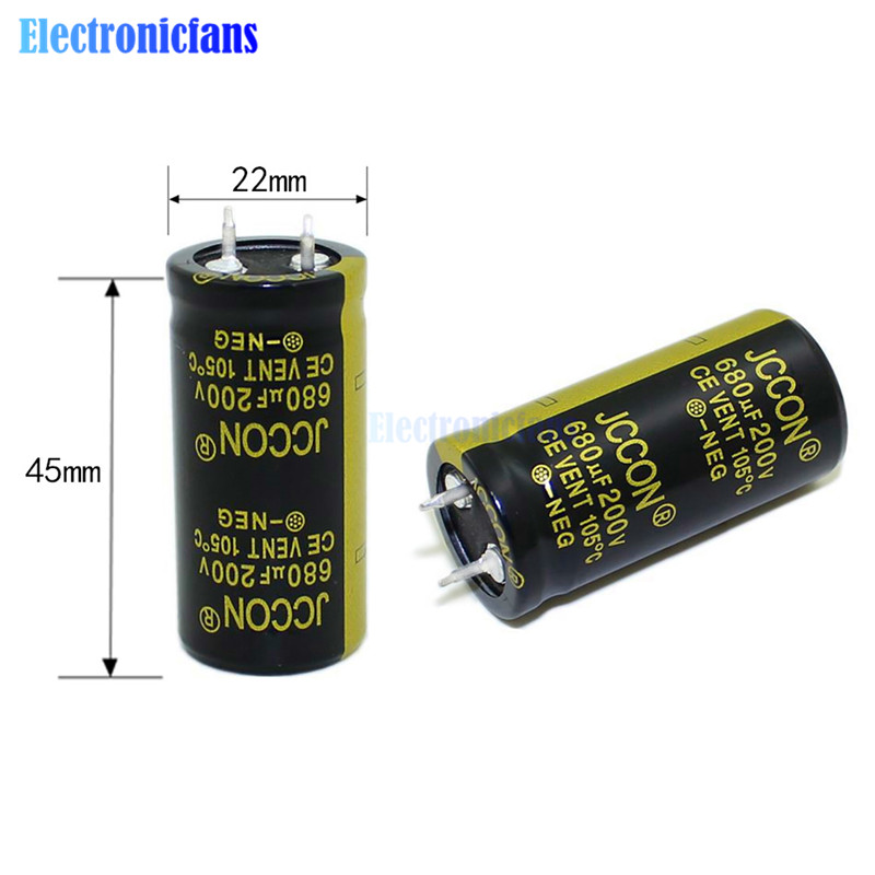Diymore Aluminum Electrolytic Capacitor 200V 680uF 22X45mm High Frequency Low ESR Through Hole Capacitor 200V680uF 22*45mm