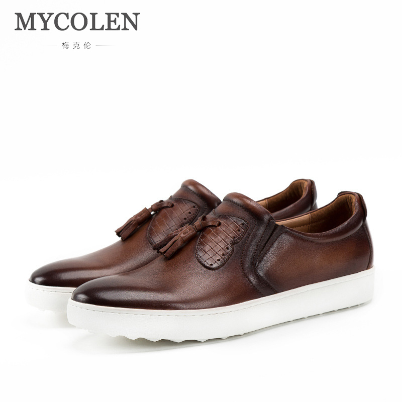 MYCOLEN Brand Cow Leather Men Flats 2018 New Brand Designer Men Casual Shoes High Quality White Men Loafers Driving Shoes антенны телевизионные ritmix антенна телевизионная