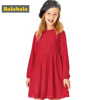 Balabala girls dresses For New Year Clothing China Style kids clothing dress for party spring long sleeve Lace dress for a girl girl
