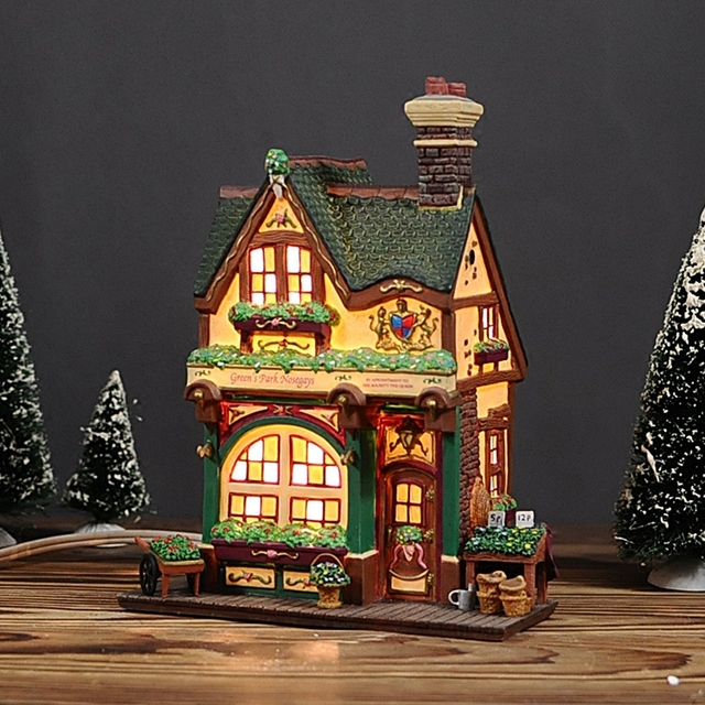 Us 129 0 European Creative Hand Painted With Night Lights Ceramic House Christmas Gift In Statues Sculptures From Home Garden On Aliexpress Com