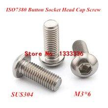 1000ピースm3 * 6 iso7380ステンレス鋼a2ボタンヘッドソケットスクリュー/sus304ボルトm3x6mm