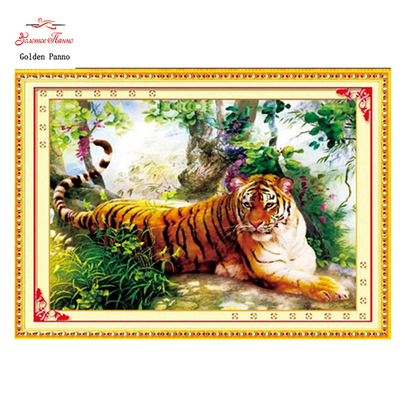 Golden Panno,Needlework,Embroidery,DIY Animal Painting,Cross stitch,kits,11ct tiger of forest Cross-stitch,Sets For Embroidery