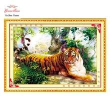 Золотой панно, рукоделие, вышивка, DIY животное живопись, вышивка крестом, комплекты, 11ct Тигр лес крестиком, наборы для вышивания